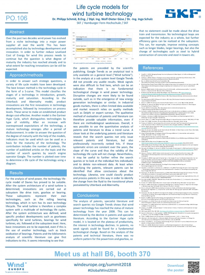 """Poster """"Life cycle models for wind turbine technology"""", Dr. Philipp Schmid"""